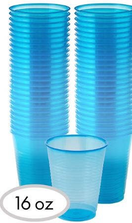Big Party Pack Black Light Neon Blue Plastic Cups, 50ct