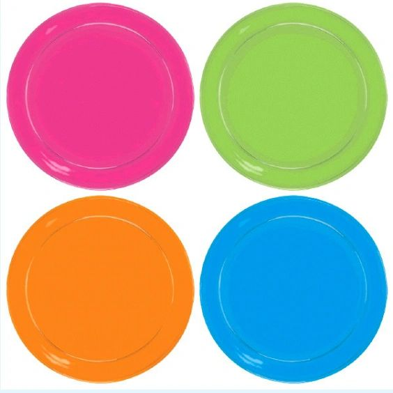Big Party Pack Black Light Neon Plastic Lunch Plates, 24ct