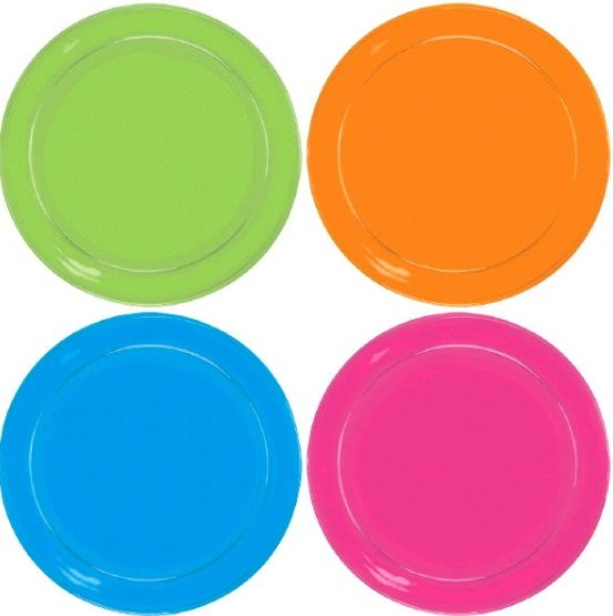 Big Party Pack Black Light Neon Plastic Snack Plates, 32ct