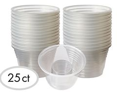 CLEAR Plastic Two-Part Shot Glasses, 25ct