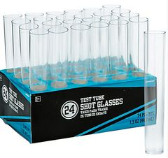 CLEAR Test Tube Plastic Shot Glasses. 1.5oz - 24ct