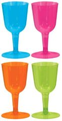 Big Party Pack Neon Plastic Wine Glasses, 10oz - 20ct