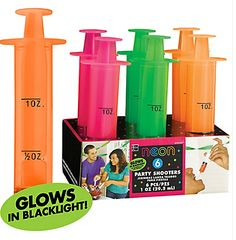 Black Light Neon Party Shooter Syringes, 6ct