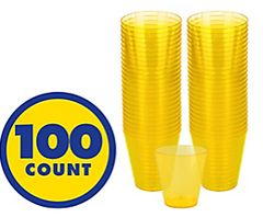 Big Party Pack Yellow Sunshine Plastic Shot Glasses, 100ct