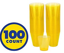 Big Party Pack Yellow Sunshine Plastic Shot Glasses, 2oz - 100ct