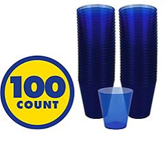 Big Party Pack Bright Royal Blue Plastic Shot Glasses, 100ct