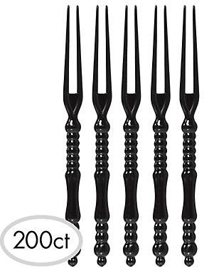 Tall Black Plastic Cocktail Picks, 200ct
