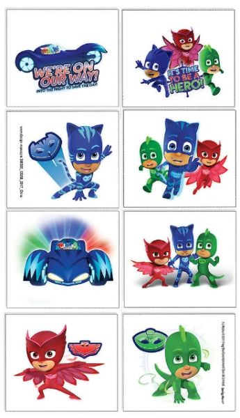 PJ Masks Tattoo Favors, 8ct