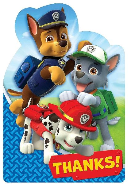 Paw Patrol™ Postcard Thank You, 8ct