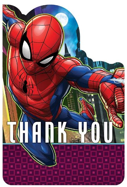 Spider-Man™ Webbed Wonder Postcard Thank You, 8ct