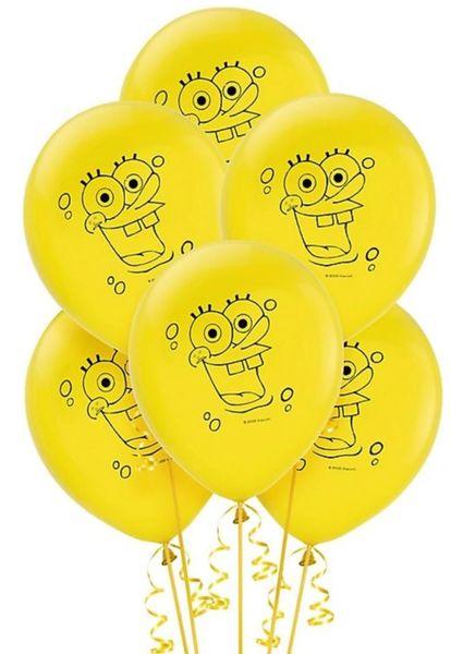 Latex SpongeBob Balloons, 6ct
