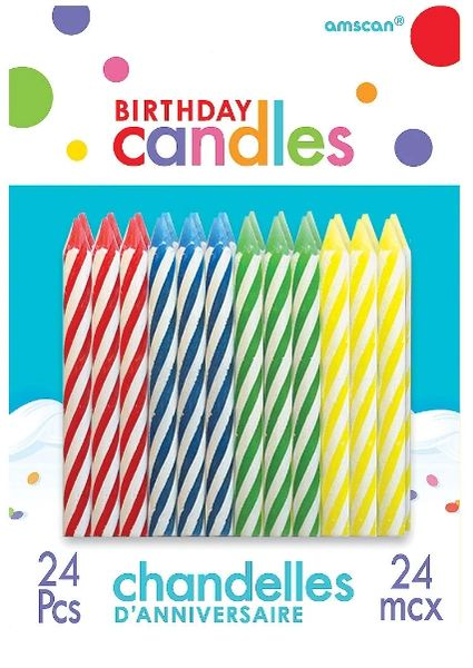 Birthday Candle Spiral Assortment - Primary, 24ct