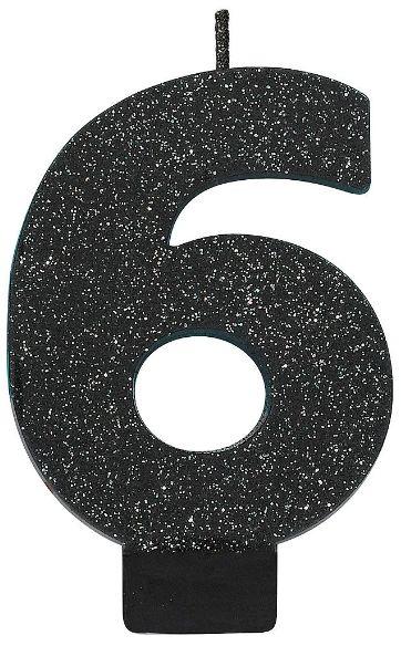 Glitter Black #6 Birthday Candle