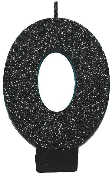 Glitter Black #0 Birthday Candle