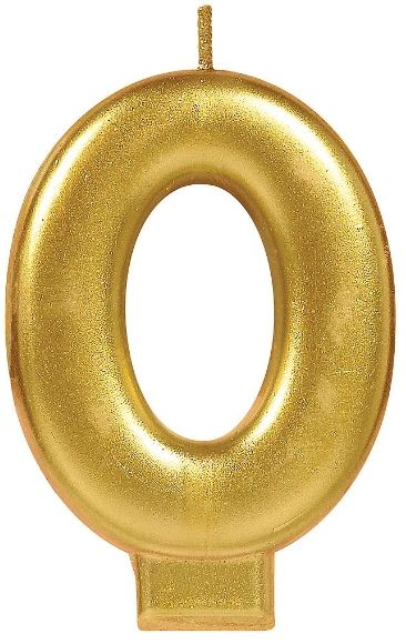 Numeral #0 Metallic Candle - Gold