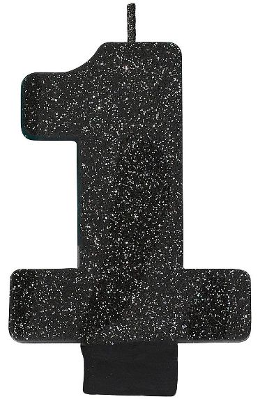 Glitter Black #1 Birthday Candle