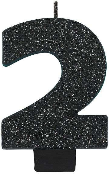 Glitter Black #2 Birthday Candle