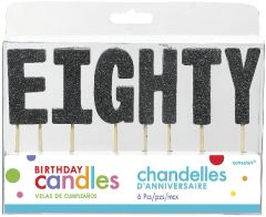 "80 ""E-I-G-H-T-Y"" Black Glitter Candles"
