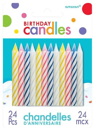 Assorted Candy Stripe Spiral Candles, 24ct