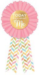 Pastel & Gold Herringbone Birthday Award Ribbon