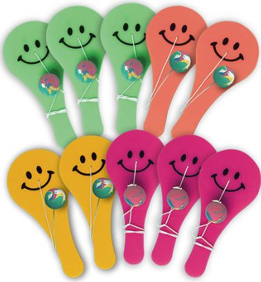 Smiley Face Paddleballs, 10ct