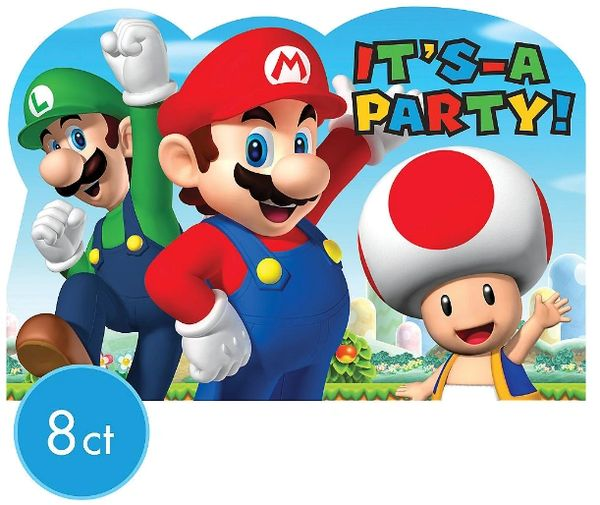 Super Mario Brothers™ Postcard Invitations, 8ct