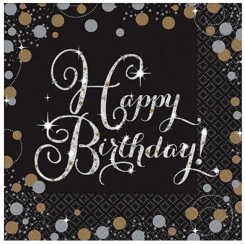 Sparkling Celebration Luncheon Napkins - Happy Birthday, 16ct