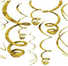 Gold Swirl Decorations, 12ct