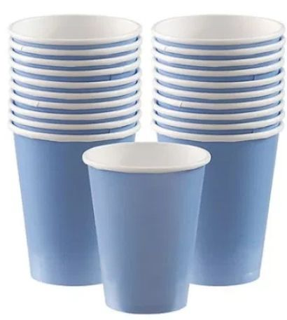 Pastel Blue Paper Cups, 9oz - 20ct