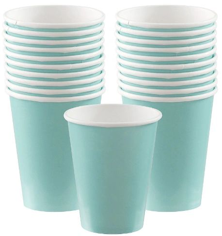 Robin's-Egg Blue Paper Cups, 9oz - 20ct