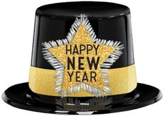Happy New Year Top Hat - Black, Silver, Gold