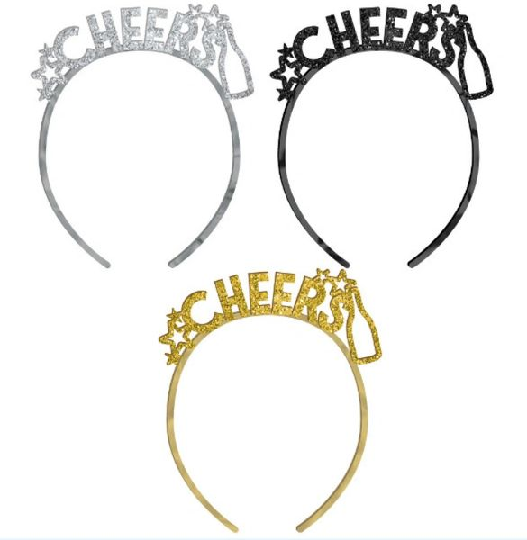 New Year's Headbands - Black, Silver, Gold, 6ct
