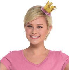 Confetti Fun Pink & Gold Mini Crown Hair Clip