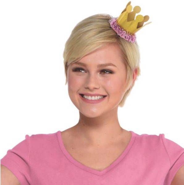 Confetti Fun Pink & Gold Mini Crown Hair Clip
