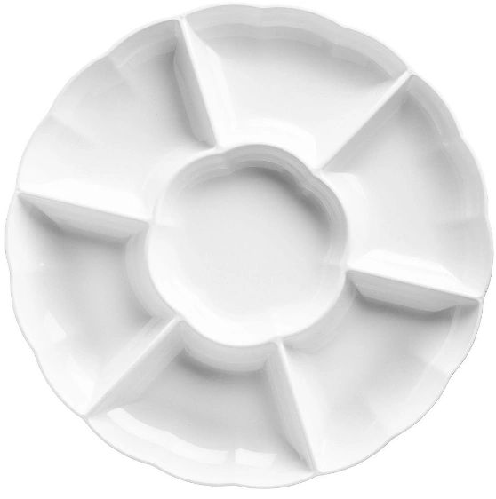 White Plastic Scalloped Sectional Platter, 16""