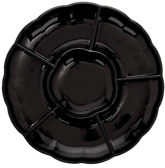 """Black Plastic Scalloped Sectional Platter, 16"""""""