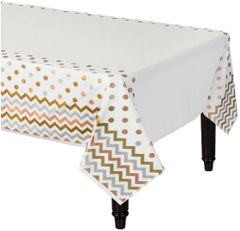 Metallic Polka Dot & Chevron Plastic Table Cover