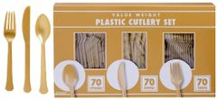 Big Party Pack Gold Window Box Cutlery Set, 210ct