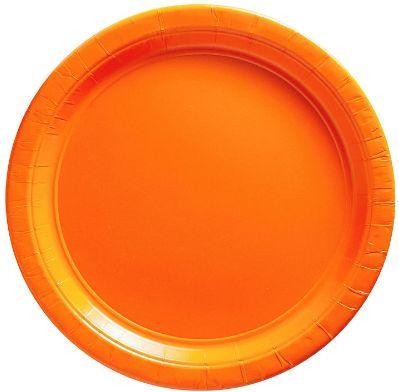 "Big Party Pack Orange Dessert Paper Plates, 7"" - 50ct"