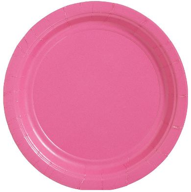 """Big Party Pack Bright Pink Dessert Paper Plates, 7"""" - 50ct"""