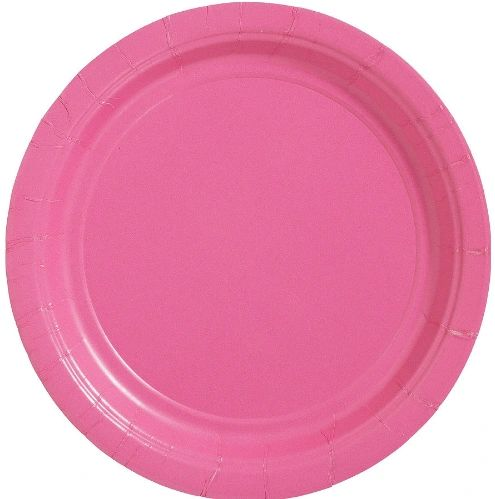 """Big Party Pack Bright Pink Lunch Paper Plates, 9""""- 50ct"""