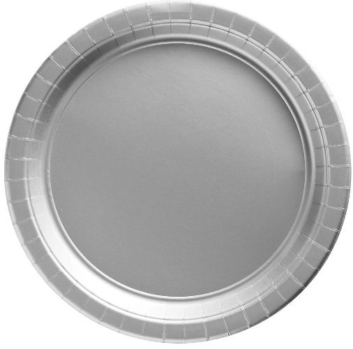 """Big Party Pack Silver Lunch Paper Plates, 9"""" - 50ct"""
