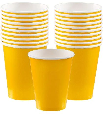 Sunshine Yellow Paper Cups, 9oz - 20ct