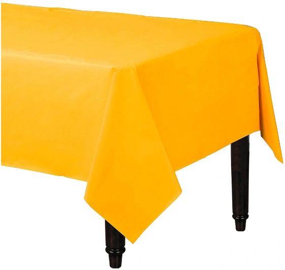 "Sunshine Yellow Rectangular Plastic Table Cover, 54"" x 108"""