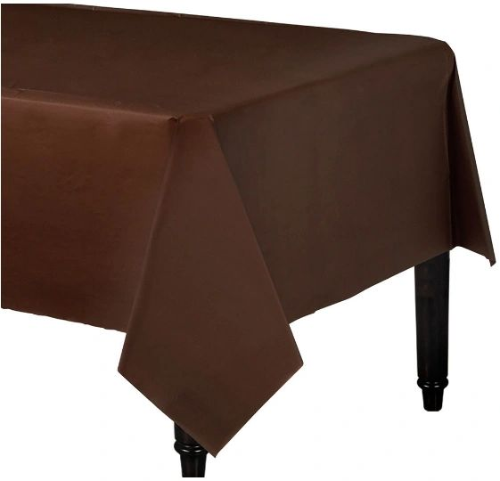 "Chocolate Brown Rectangular Plastic Table Cover, 54"" x 108"""