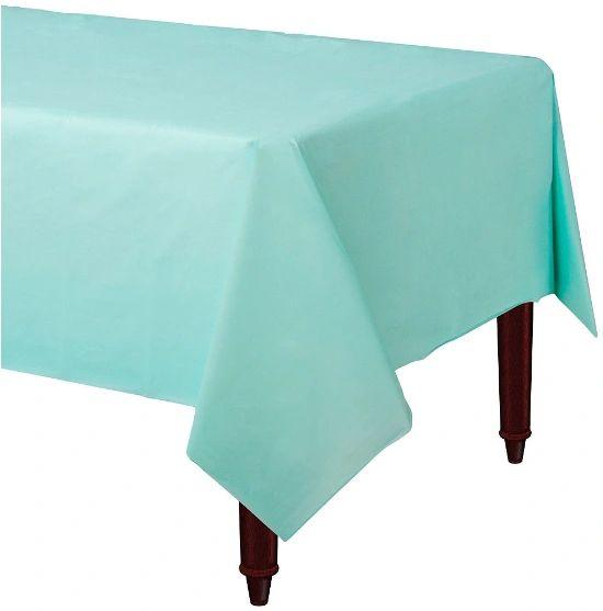 """Robin's-Egg Blue Rectangular Plastic Table Cover, 54"""" x 108"""""""