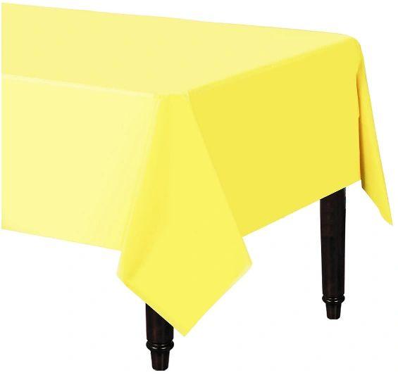 "Light Yellow Rectangular Plastic Table Cover, 54"" x 108"""