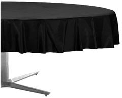 "Jet Black Round Plastic Table Cover, 84"""