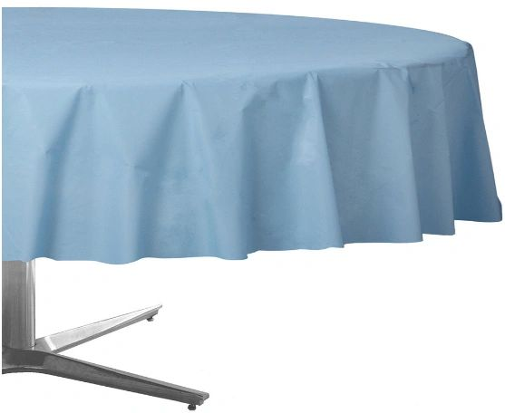 Pastel Blue Round Plastic Table Cover, 84""