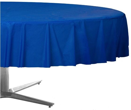 """Bright Royal Blue Round Plastic Table Cover, 84"""""""